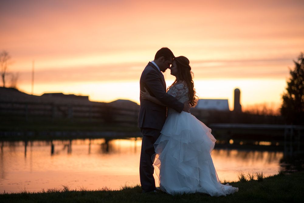 Springside barn East Earl beautiful sunset at end of wedding day photography