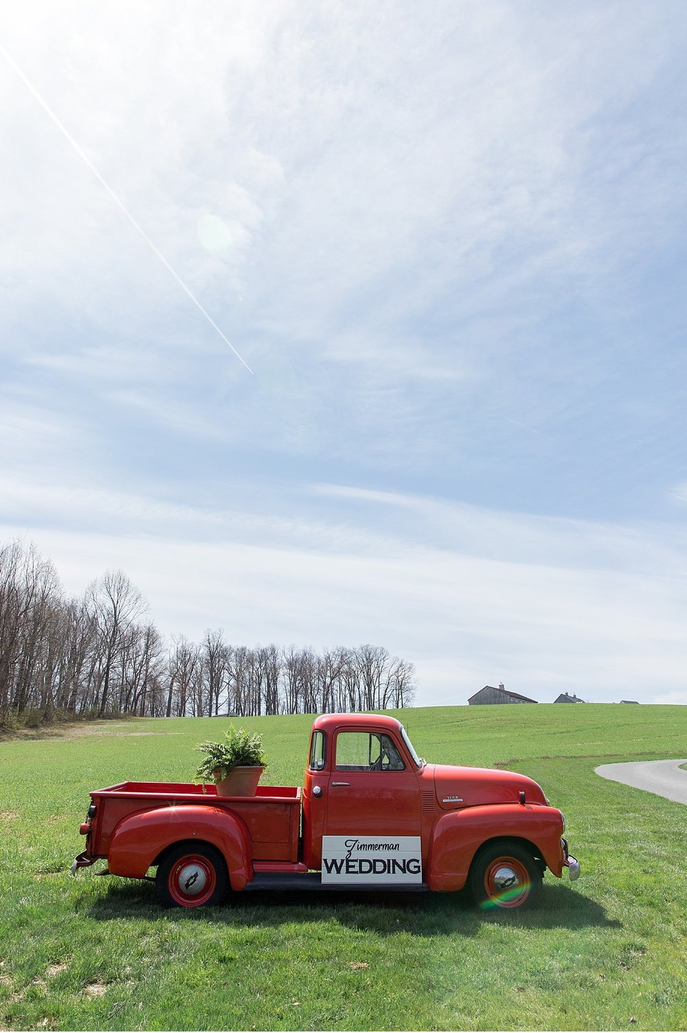 Vintage red truck at Beautiful Lancaster County Farmland wedding at sunset photography photo_1192.jpg