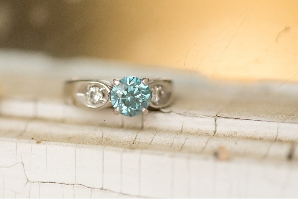 Blue diamond details engagement ring Lancaster wedding photographer photo
