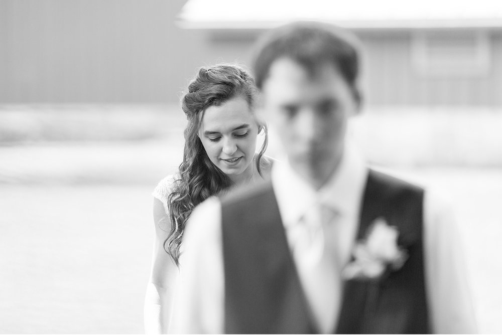 Black and white bride and groom first look wedding photography