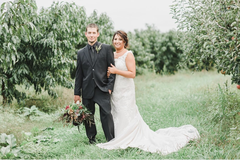 Bride and Groom Portrait in Apple Orchard Wedding Photography