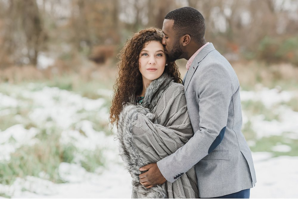 Snow covered engagement Rockford Plantation wedding photography