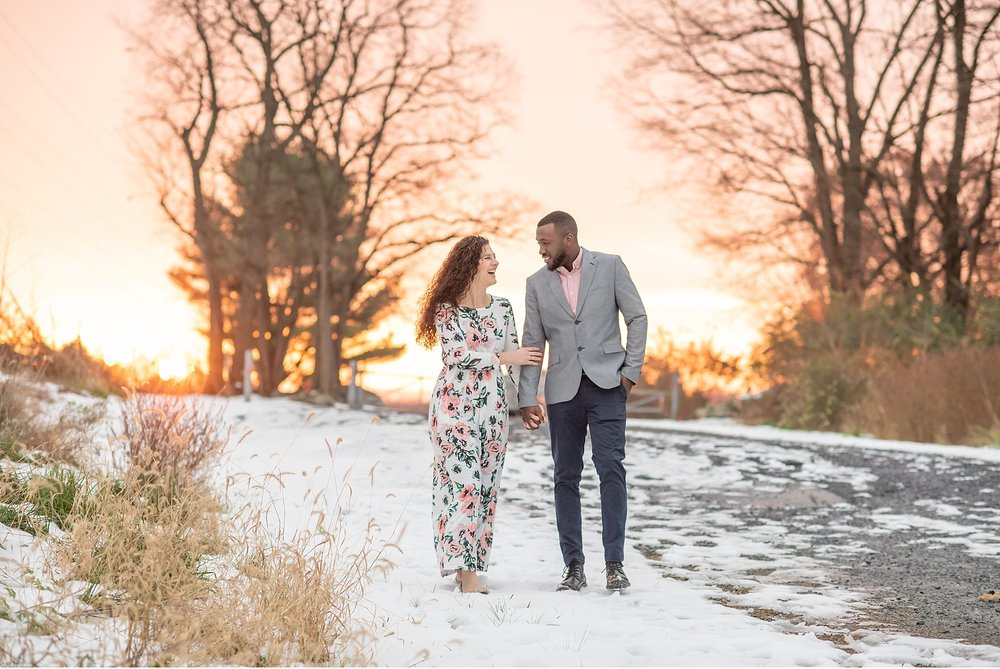 Sunset snowy morning engagement session Lancaster County Park Photography