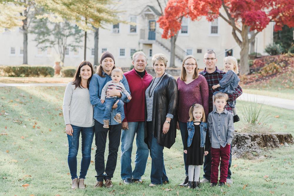 Lititz PA large family gathered in fall foliage portrait photographer