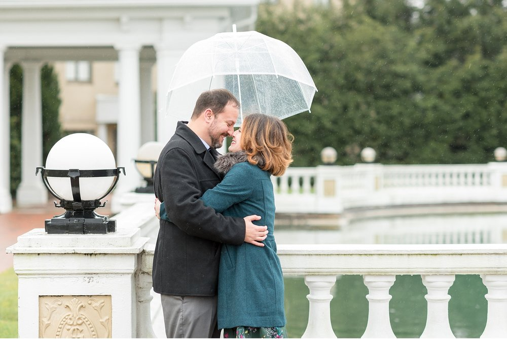 Engagement photo in the rain at Hershey Hotel Wedding Photography