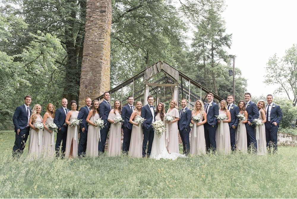 Large-bridal-party-neutral-navy-colors-Chase-Philander-Knox-Estate-Philadelphia-Wedding-Photography