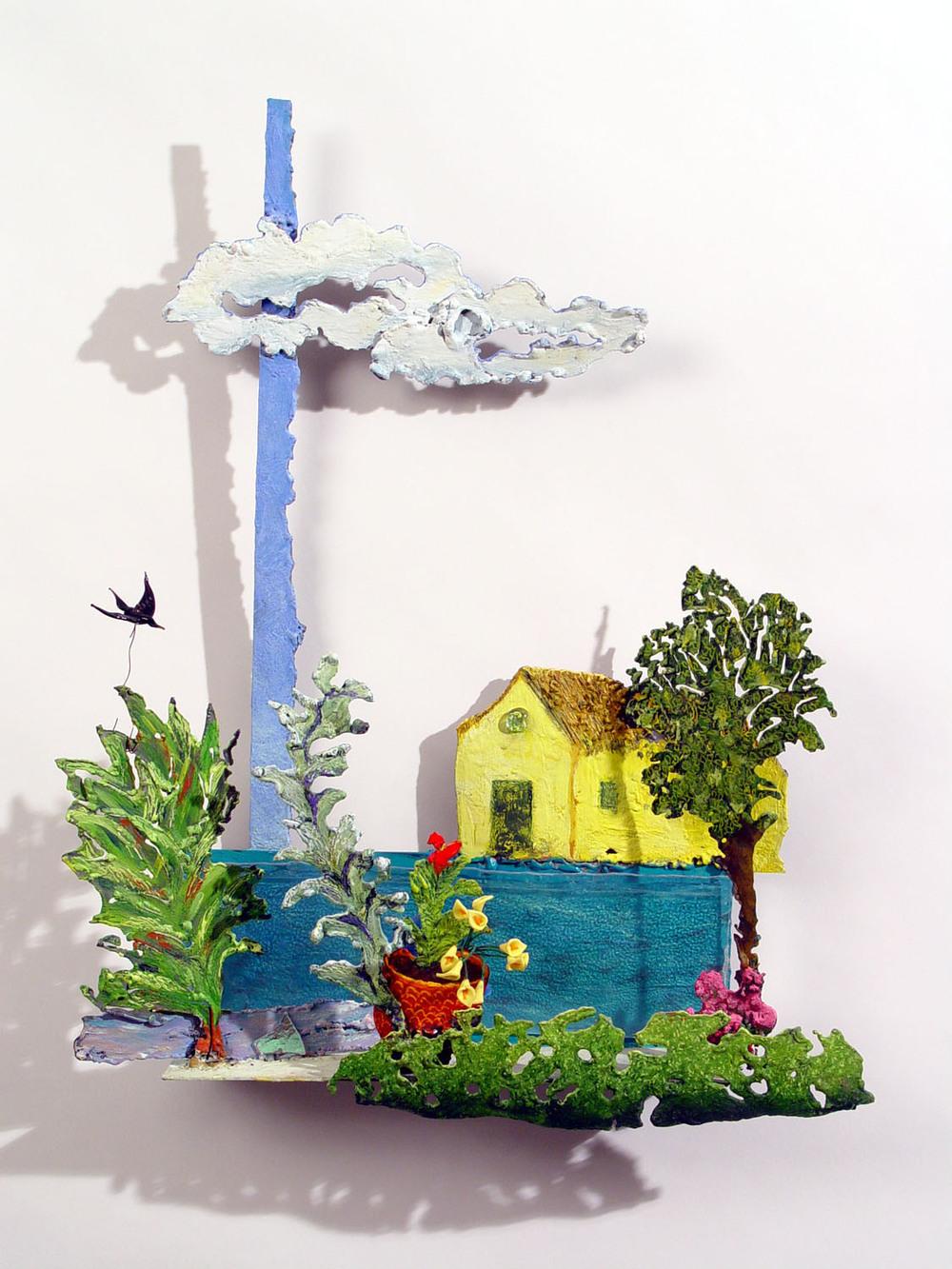 "MY YELLOW HOUSE, 2004, encaustic on metal, glass bird, 20 x 15 x 4"""