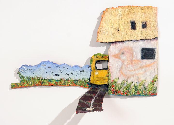 """OLD SCHOOL BUS, 2007, encaustic on metal, 14 x 12 x 6"""""""