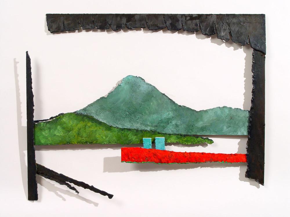 """FIELD RELIEF, 2005, encaustic on metal, 21 1/2 x 20 x 1"""""""