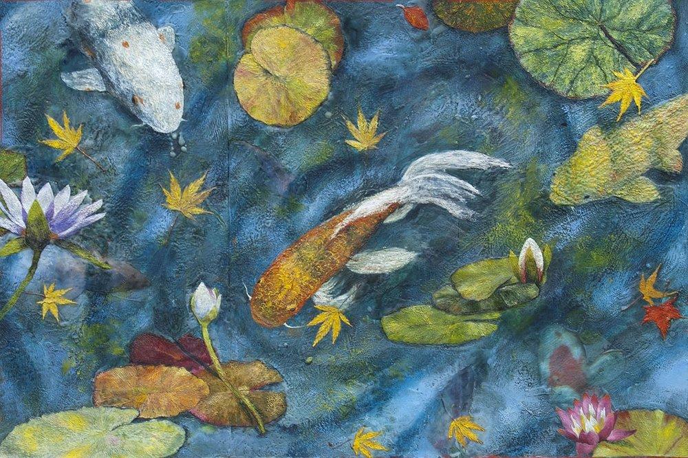KOI 3, Koi Pond and Fall leaves