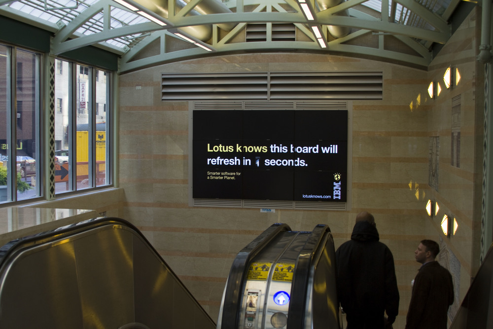 "Not all media was ""smart"". This board in Penn Station changed ads every six seconds, so we ran a line about it."