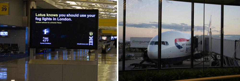 In JFK International Airport, contextual outdoor boards displayed the forecast of the gate's   destination city at the time of arrival.