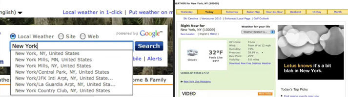 We ran a smart banner on weather.com that was connected to the visitor's search queries and served a custom ad based on where they searched.