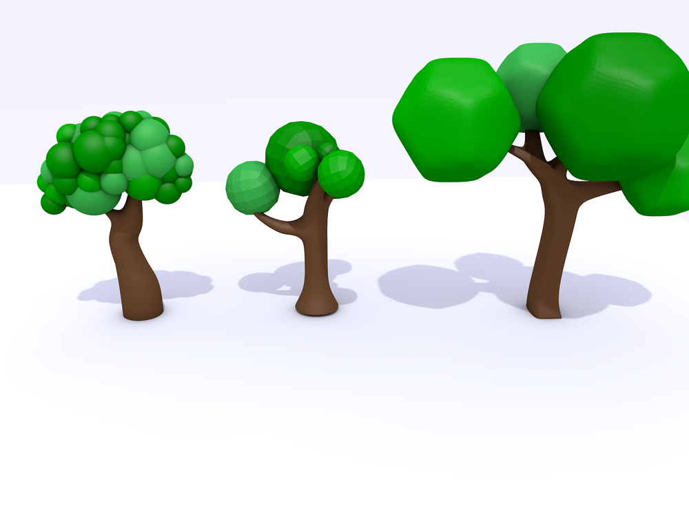 I've gone around and around on the art style. This is an early attempt at come low poly trees in Cinema 4D. I was quickly overwhelmed when I started modeling people.