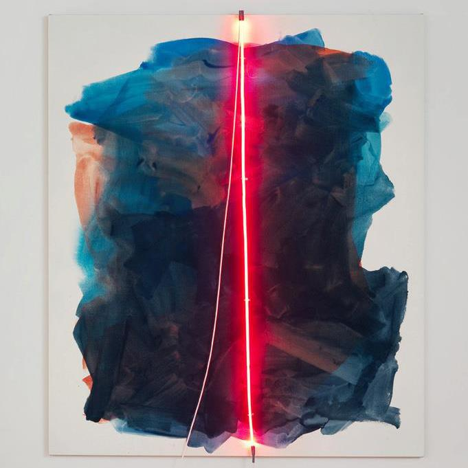 Mary Weatherford ,    Ruby II , flashe on linen with neon light and transformer, 93 x 79 inches       Opens tonight at  LA><ART