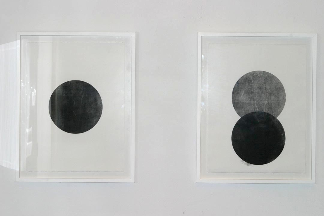 Installation shot:  Untitled I  and  II , 2008. Monoprints on paper