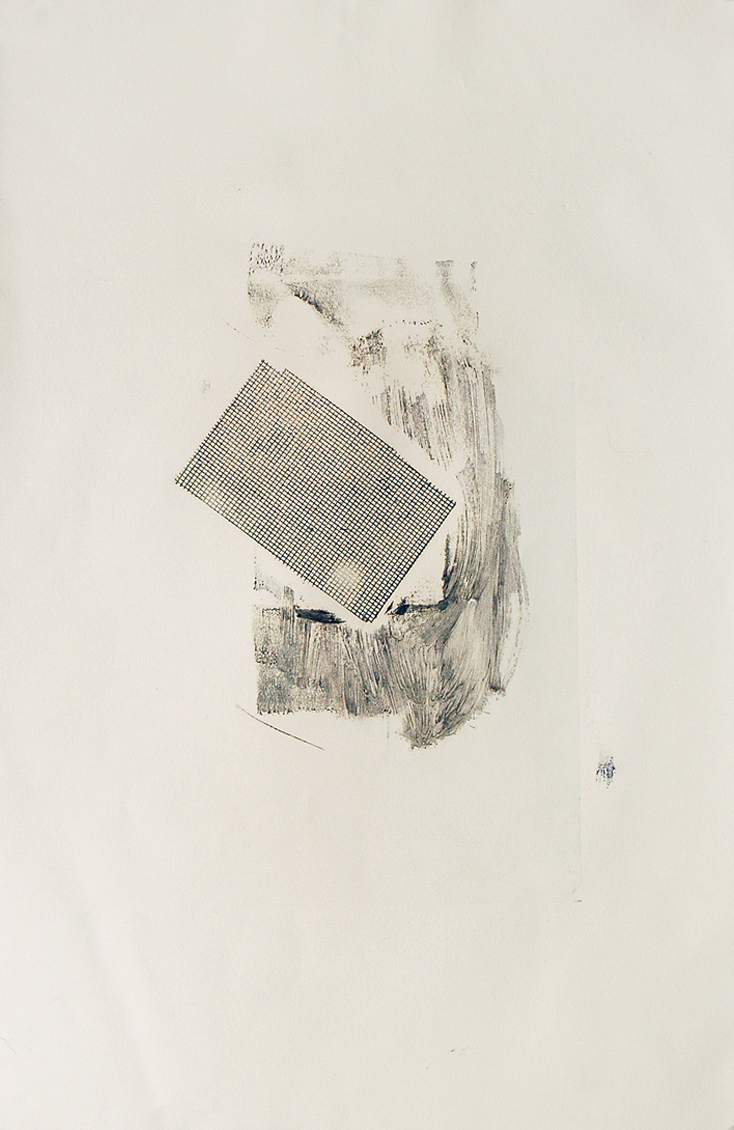 Untitled (discarded) , 2009   Monoprint, pencil, and ink on paper