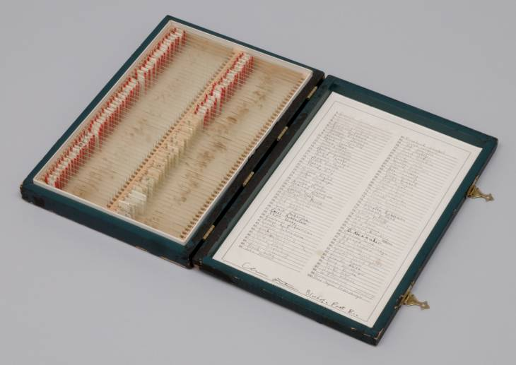 free-parking :      Eleanor Antin  —  Blood of a Poet Box , wood box containing blood samples taken from 100 poets, 1965-1968