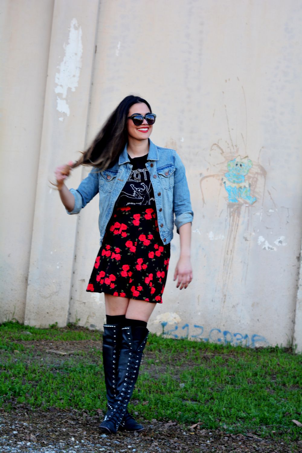 Dress: Kimchi Blue (Urban Outfitters) Tee: Urban Outfitters (Cropped by yours truly) Jacket: Quicksilver (Nordstrom) Boots: Jeffrey Campbell (Free People) Sunglasses: Karen Walker No 1 (Bona Drag) Photo Cred: Zachary Perkins