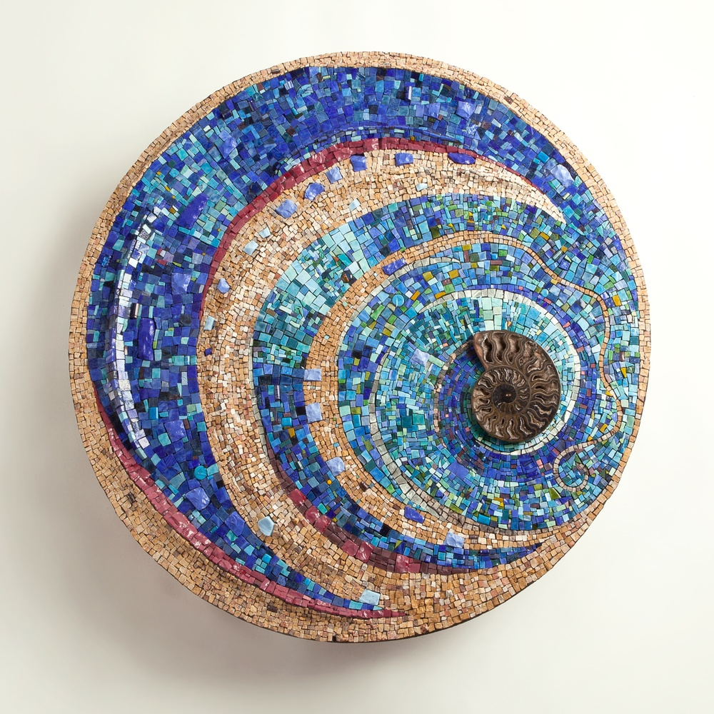 """Azzurro"" by Julie Richey 2014  Natural stone, Italian and Mexican smalti, dichroic glass, gold leaf, ammonite fossil and e-waste."