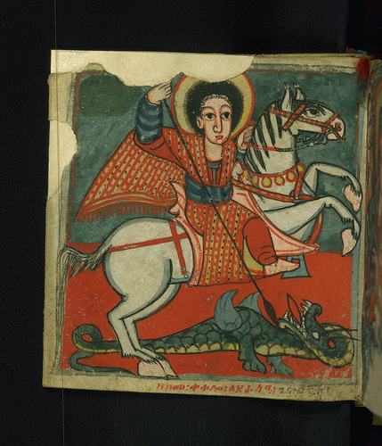 Detail of Saint George icon from a folding illuminated book, Ethiopia (Gondar), late 17th century.  Walters Art Museum collection, Baltimore, MD. USA.