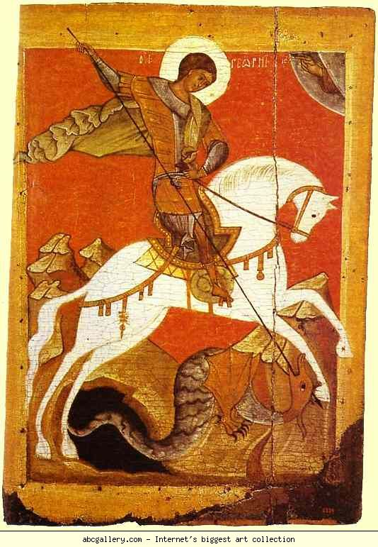 Saint George and the Dragon. Novgorod School, 14th century.  Russian Museum, St. Petersburg, Russia.