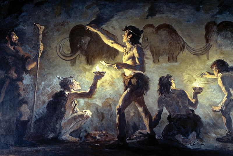 Cro-Magnon artists painting in Font-de-Gaume,  1920. Charles Knight.