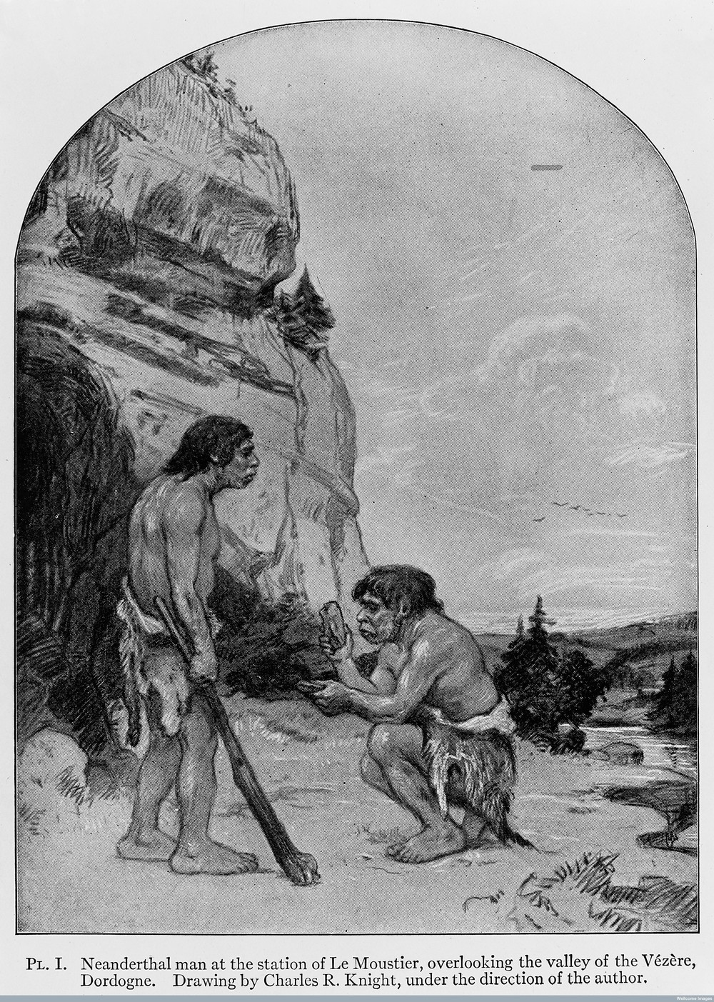 Neanderthal Man , 1909. Charles Knight. (via Wellcome Images)