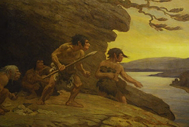 "A detail from Charles R. Knight's giant mural ""The Flint Workers of the River Vezere,"" from 1920. The  painting of a Neanderthal family shows a scene at Le Moustier cave in southern France. (Bones of Neanderthals and stone artifacts were found in 1909.)"