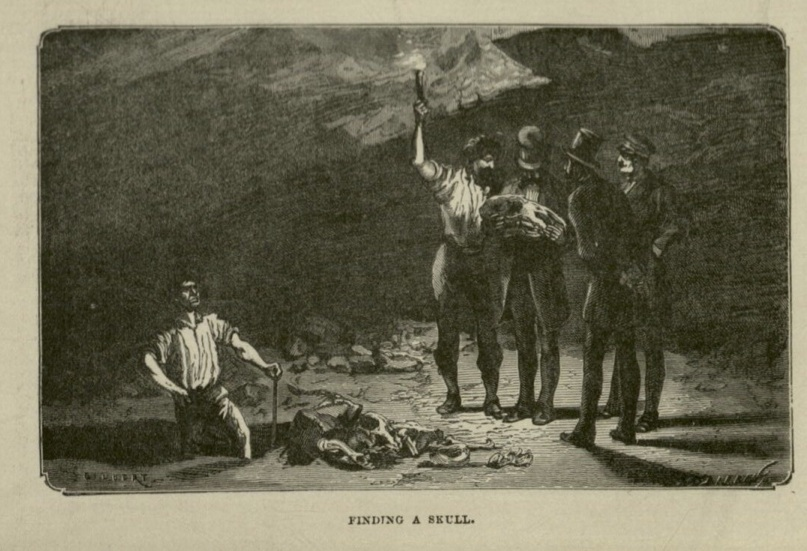 """Alas, poor Yorick...""  Half Hours Underground: Volcanoes, Mines, and Caves , 1888."