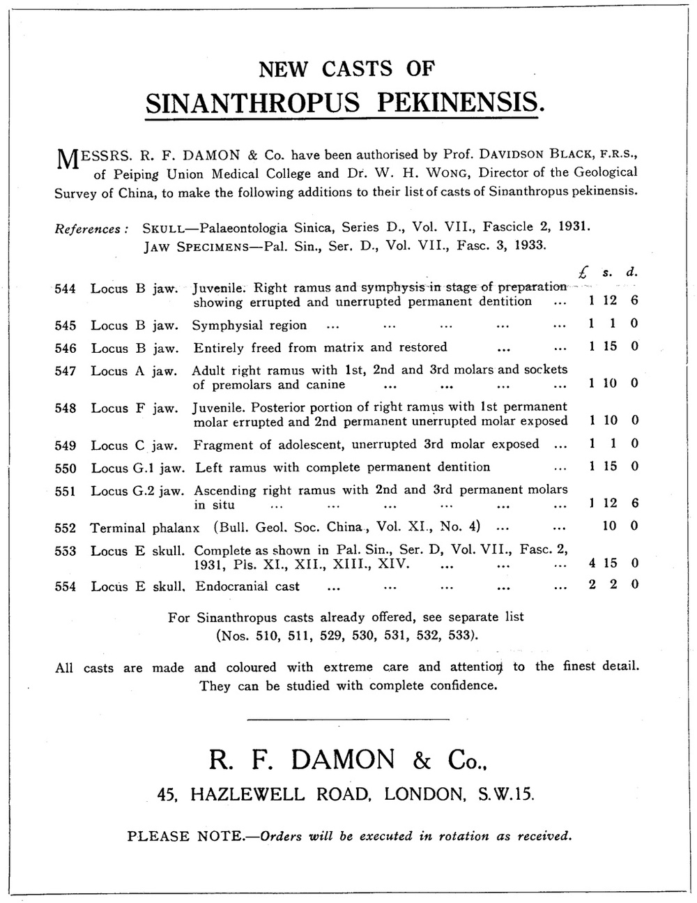 Advertisement for R.F. Damon & Company's fossil catalog.  Document courtesy of the University of Witwatersrand archive.