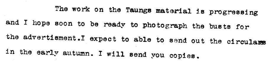 Except from Mr. F.O. Barlow's correspondence to Dr. Raymond Dart, 1928.  Document courtesy of the University of Witwatersrand archive.