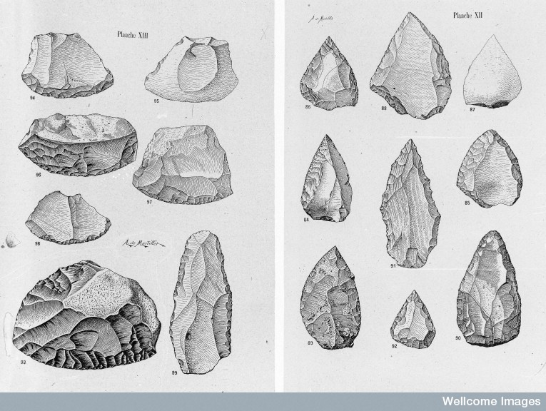 Credit:  Wellcome Library, London; Mousterian points and scrapers ; Upper Paleolithic ;    From:  Musee Prehistorique   By:    Mortillet, Adrien & Gabriel de;    Published:   Schleicher  & Cie.  Paris       1903  ; Plates XII and XIII