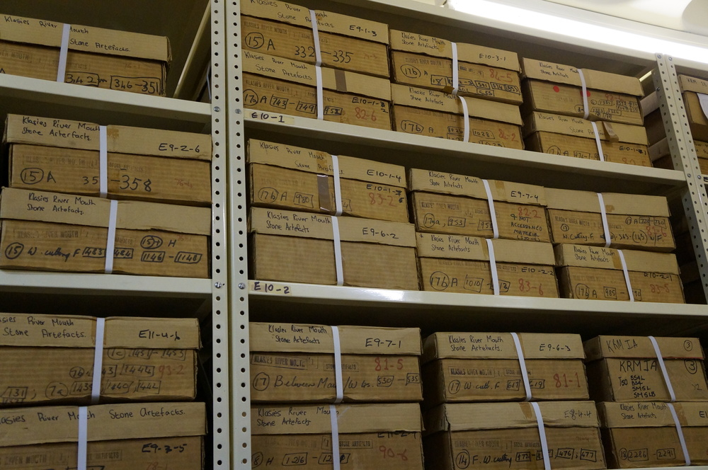 Boxed collections from Klasies River Mouth, housed in the Iziko South African Museum, Cape Town. (Photo: L. Pyne)