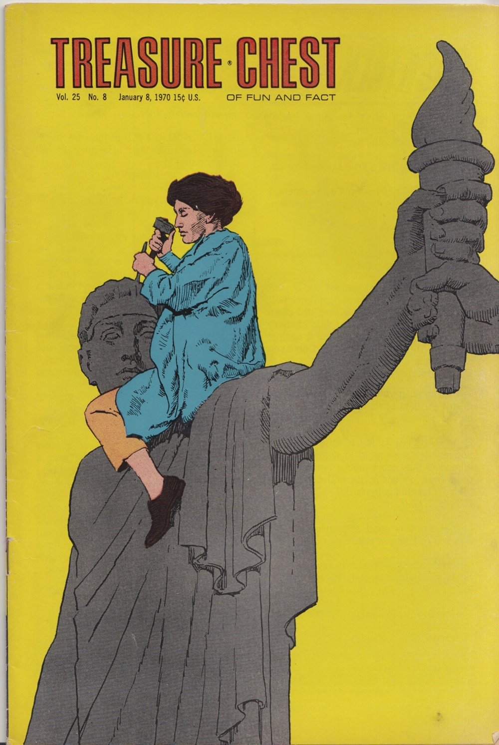 Cover art Malvina Hoffman's biography in  Treasure Chest , 1970.  Modeled after famous photo of Hoffman sculpting figures for Bush House, London. (scan by L. Pyne)