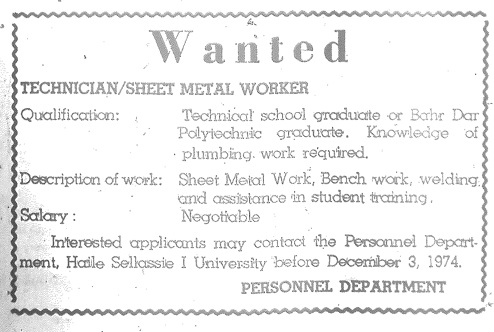 Job ad, posted in Ethiopian Herald; 30 Nov 1974