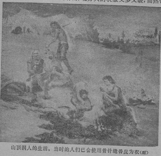 "山頂洞人的生活。當時的人們已會使用骨針縫獸皮為衣 (画) ""Depiction: The life of upper cave men.  They already knew how to use bones as needles for sewing hide for clothes."""