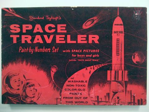 Space Traveler paint-by-number kit, courtesy of the Paint By Number Museum.  Standard Toykraft, 1958. (http://www.paintbynumbermuseum.com/kit-page/7266)