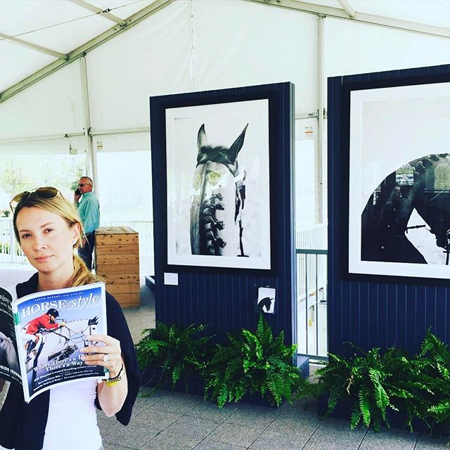 When you're reading an article about your work while at the horse show! #latergram ready for @oldsalemfarmny @horseandstylemag #equuscollection #americangoldcup