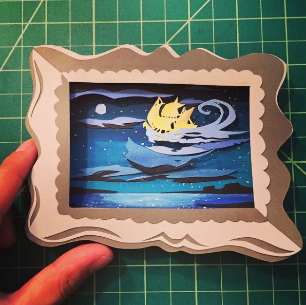 "The whole piece measured 16""x 20"". As part of it I made mini paper cuts of some of her classic pieces all measuring 2"" x 3"". This one is from Peter Pan."