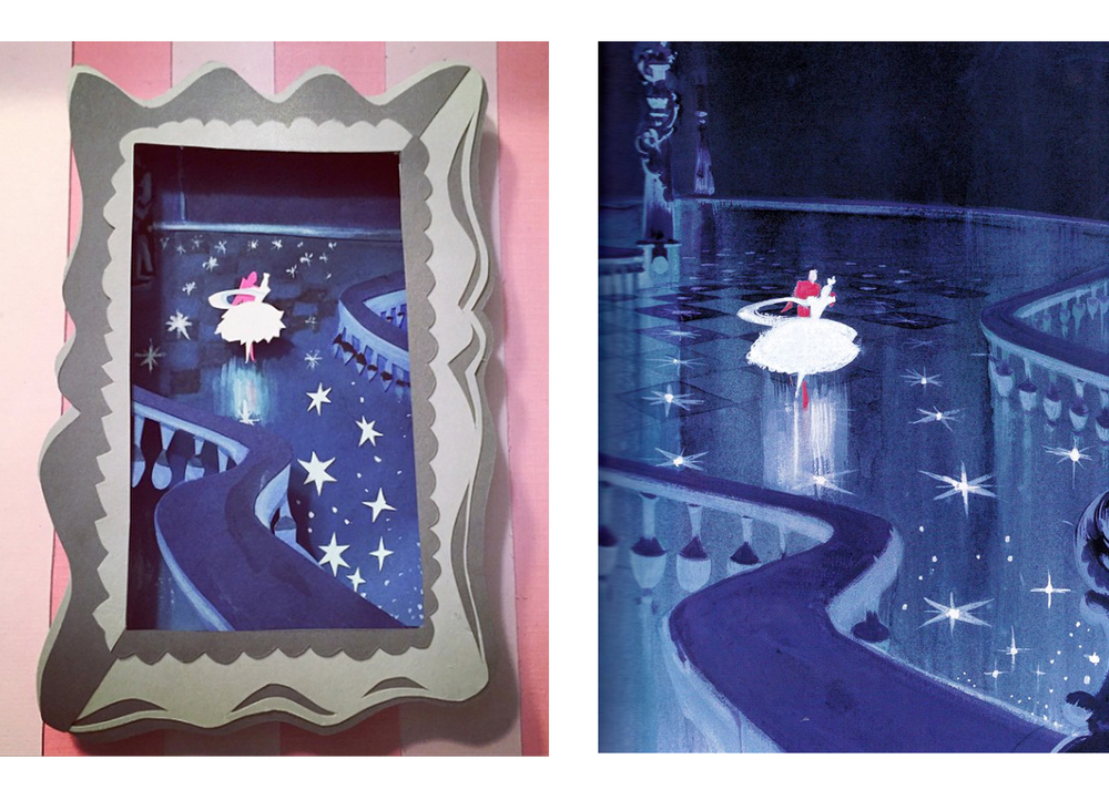 I had a lot of fun trying to adapt a painting to paper cut. I found it tricky when some paintings are so gestural versus paper cut art which is best done using major colors and shapes. On the left is my adaptation of the original painting she created for Cinderella.