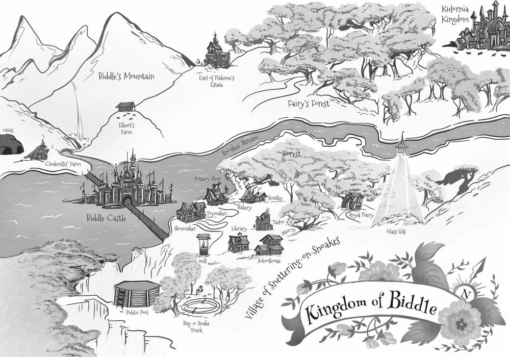 "This map of the Kingdom of Biddle is the environment in which all the stories take place. I had fun trying to ""map out"" all the locations in the stories."