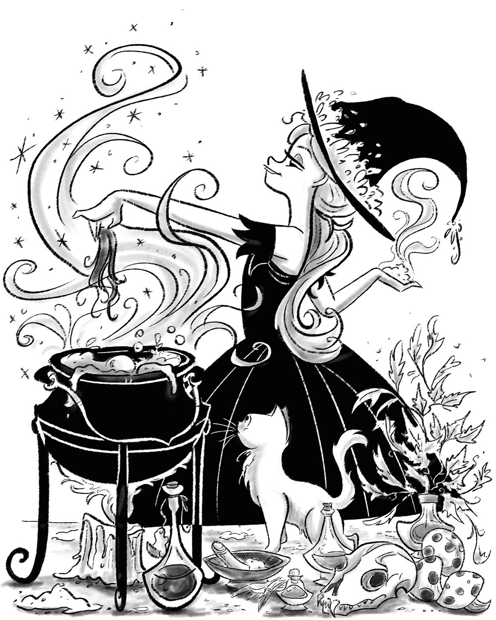 Been keeping with the October theme, I been doodling a witch and her kitty and their daily day doings.