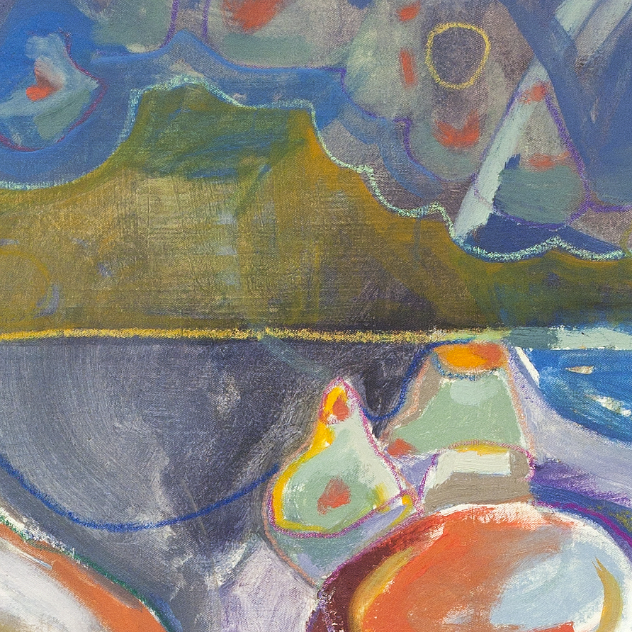 Jilted Gilt, detail  oil and pastel on unstretched canvas 2015