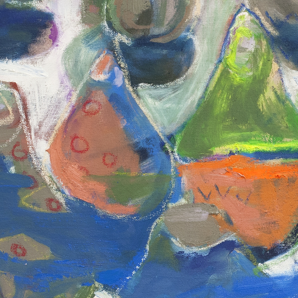 Lacquered Murmurs, detail  oil and pastel on unstretched canvas 2015