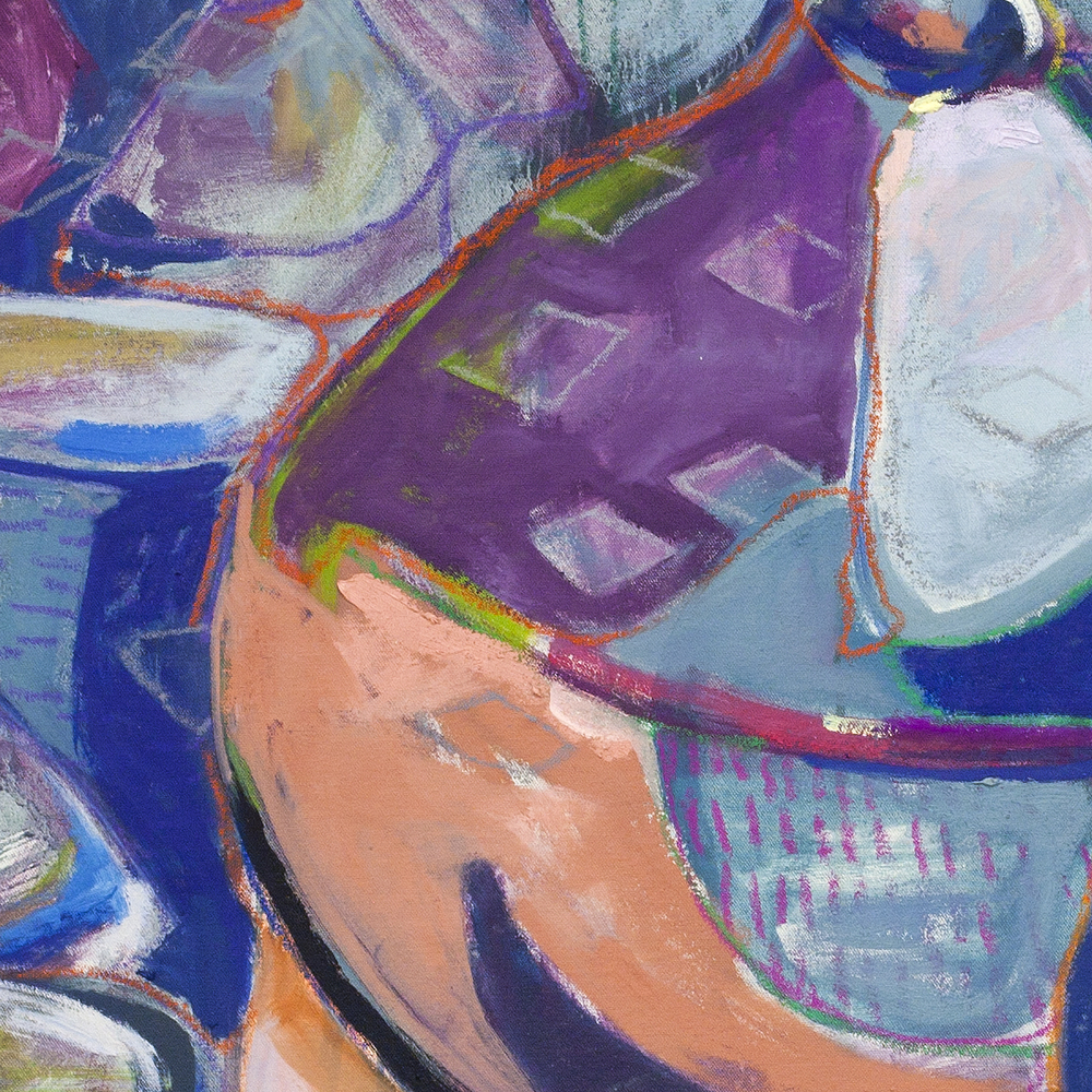 Pan Seared Cuddle, detail 1  oil and pastel on unstretched canvas 2015