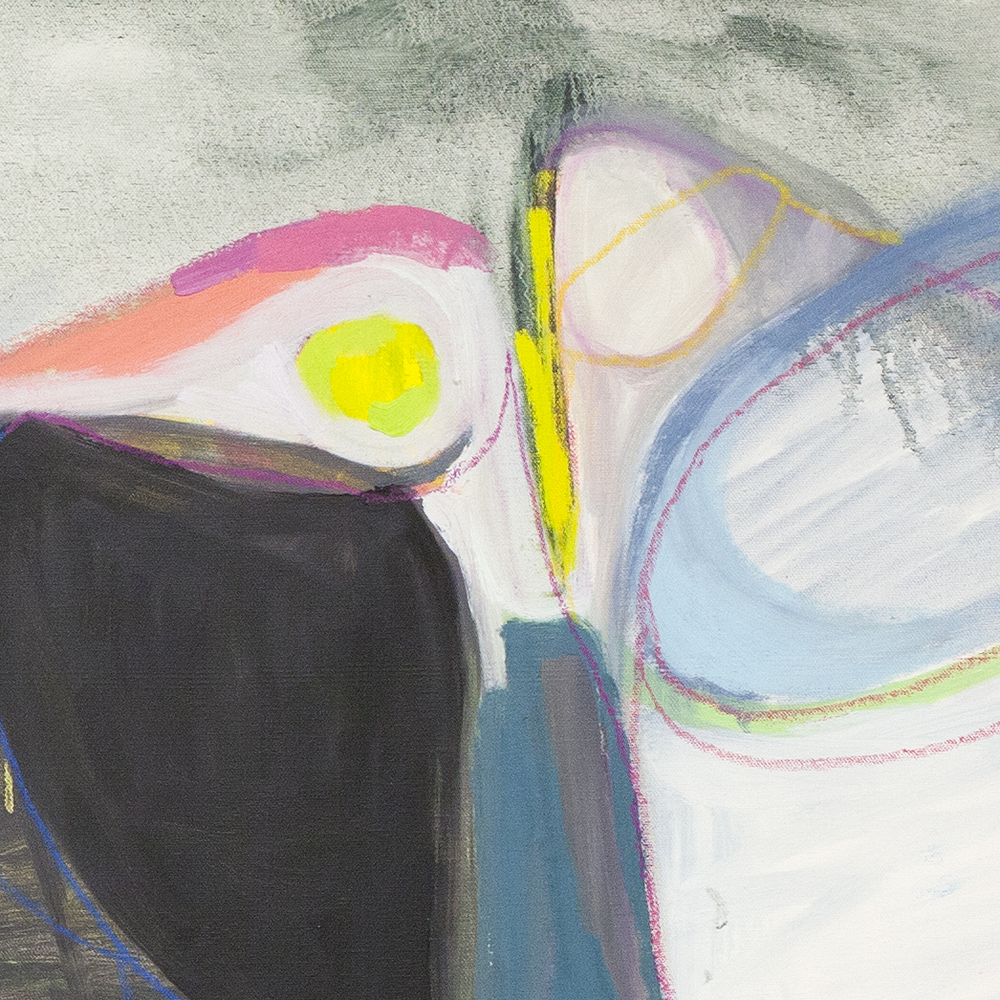 Oblivious Whipstitch, detail 2  oil and pastel on unstretched canvas 2015
