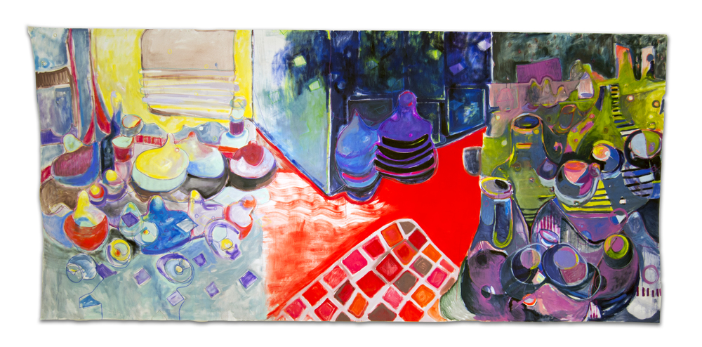 We Came From Alligators//The Things That Carried You Here  15' x 6' oil and pastel on unstretched canvas 2015