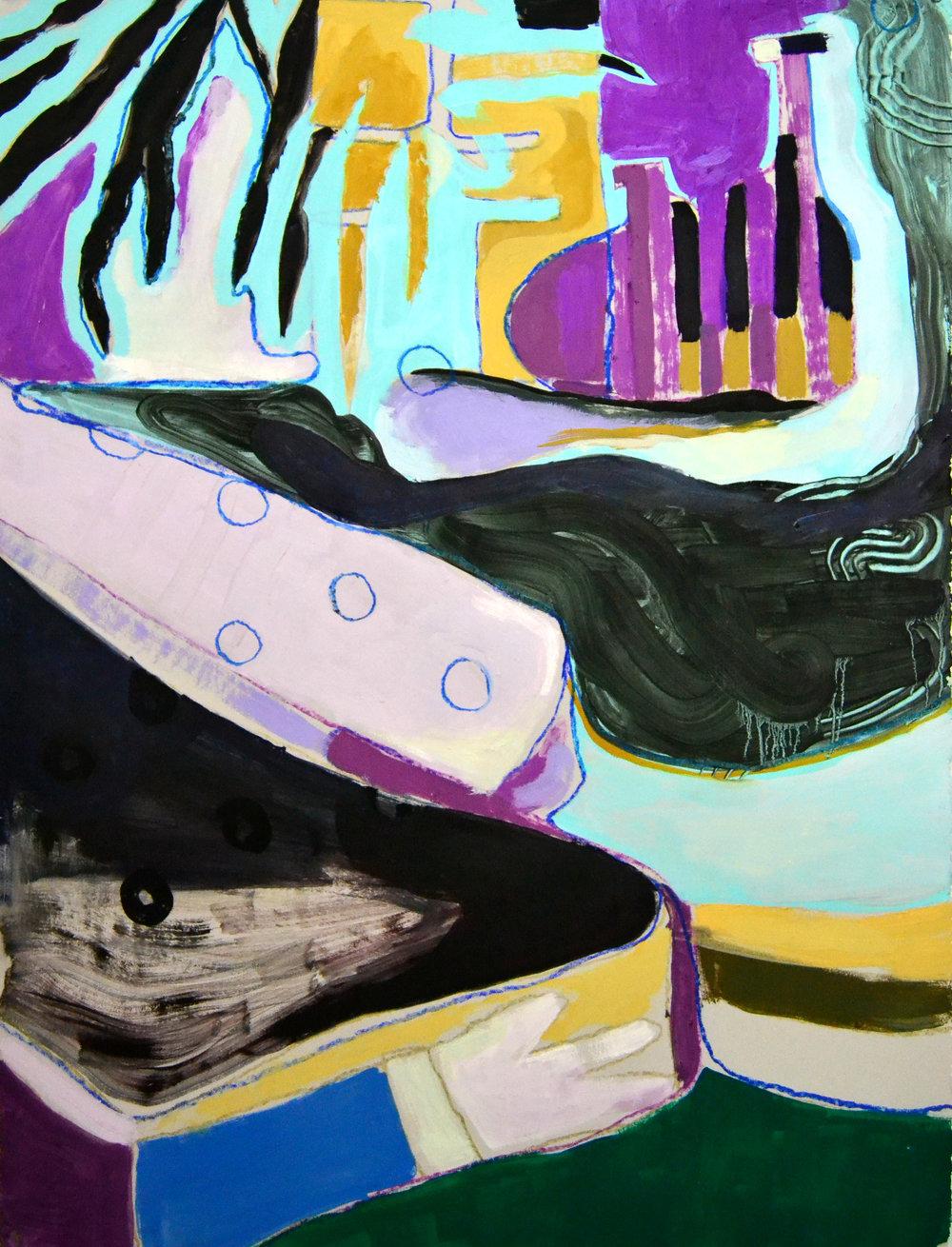 "Derby Haze  acrylic, oil, pastel on paper 23"" x 28"""