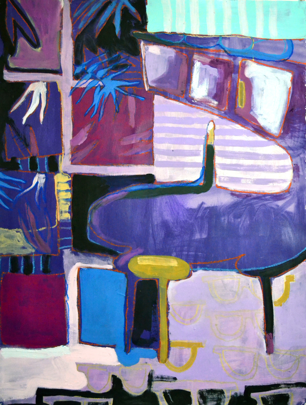 "Early Dip Out  acrylic, oil, pastel on paper 23"" x 28"""